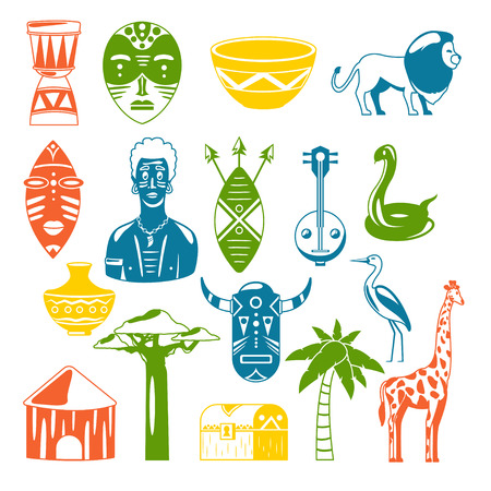 Africa. African images. Vector icons. Giraffe, mask, man, snake, vase, lion, house, palm, baobab Illustration