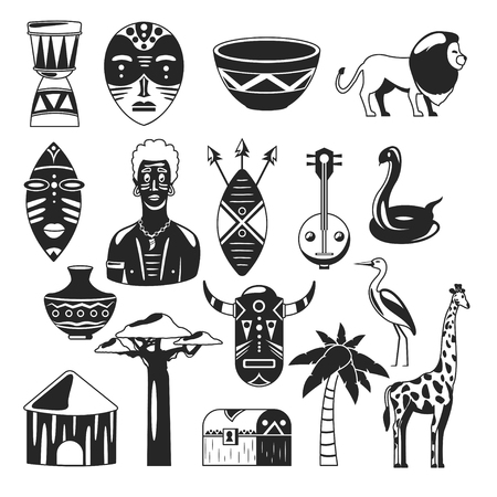 Africa. African images. Vector icons. Giraffe, mask, man, snake, vase, lion, house, palm, baobab Ilustrace