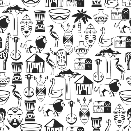 Seamless african pattern. Travel to Africa ethnic icons. Tribal illustration.