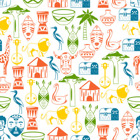 Seamless African pattern. Travel to Africa ethnic icons. Tribal illustration. African mask, animals, house, tree, palm, baobab