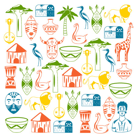 African pattern. Travels to Africa ethnic icons. Tribal illustration. African mask, animals, house, tree palm baobab