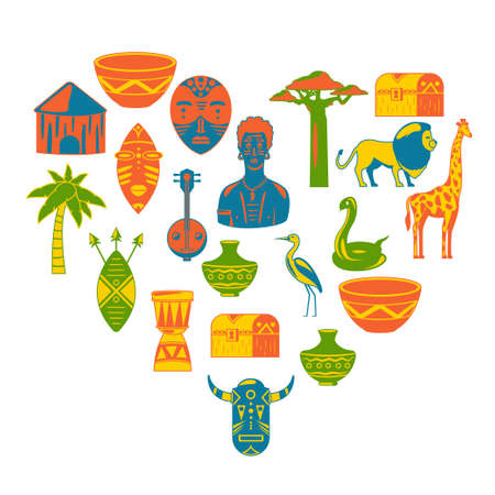 Heart of Africa. African tribal icons, heart shape. I love africa pattern. Masks, animals, birds, music culutre
