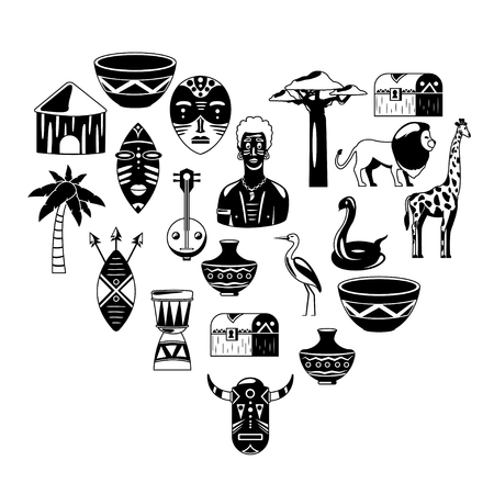 I love Africa. Heart of Africa. African tribal icons, heart shape. Pattern. Masks, animals, birds, music, culutre. T-shirt print.