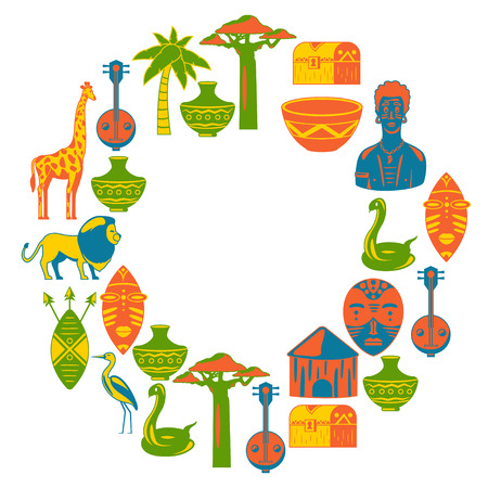 Africa. Frame for poster. Travel to Africa ethnic icons. Tribal illustration. African masks, animals, house, tree palm baobab 向量圖像