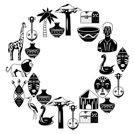 Africa. Frame for poster. Travel to Africa ethnic icons. Tribal illustration. African masks, animals, house, tree palm baobab Illustration