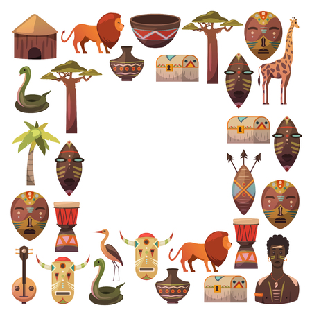 Africa. Frame for poster. Travel to Africa ethnic icons. Tribal illustration. African mask, animals, house, tree, palm, baobab