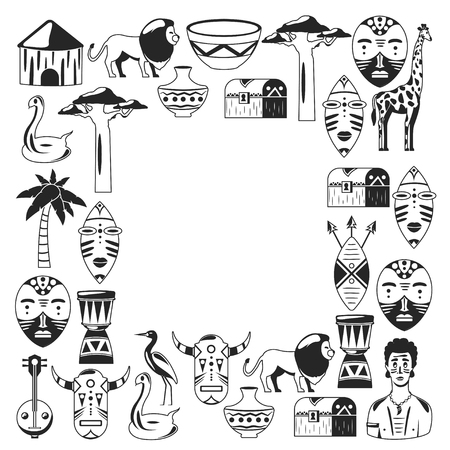 Africa. Frame for poster. Travel to Africa ethnic icons. Tribal illustration.