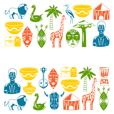 African banners. Africa icons and design elements for banners, posters, backgrounds. Giraffe, tribal masks, palm, baobab, drum, music
