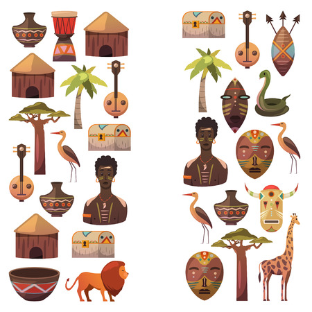 African banners. Africa icons and design elements for banners, posters, backgrounds. Giraffe, tribal masks, palm, baobab, drum, music Foto de archivo - 97279063