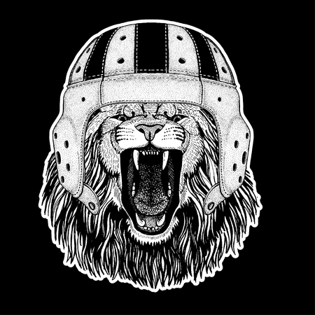 Lion wearing rugby helmet icon