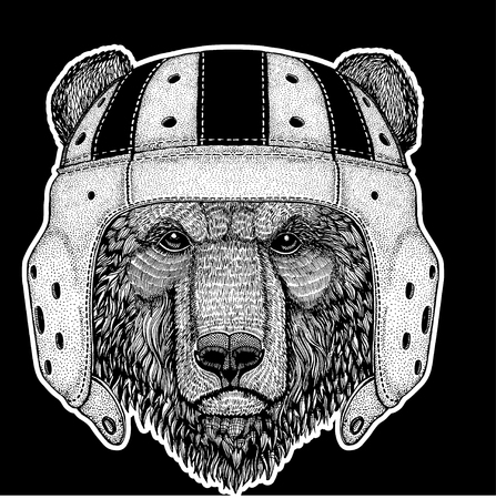 Brown bear wearing rugby helmet illustration Illustration