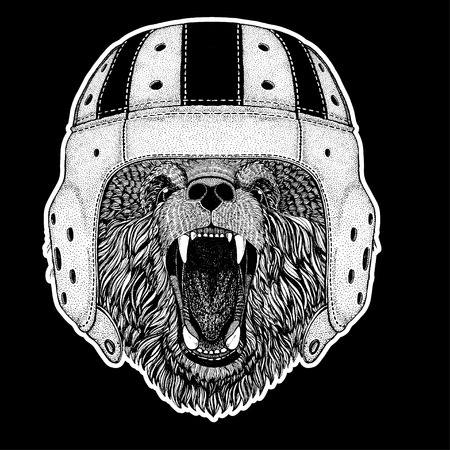 Rugby player. Bear Hand drawn picture for tattoo, t-shirt, emblem, badge, logo, patch Stock Illustratie