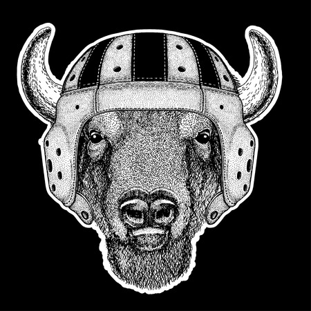 Bull Hand drawn image for tattoo, emblem, badge, logo and patch.
