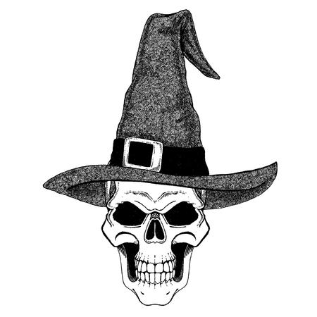 Old wizard. Fantasy demon skull wearing Magician hat. Fantasy headdress with evil grunge skull. Beware of zombie and evil magic. Halloween image, t-shirt print. Stock Photo