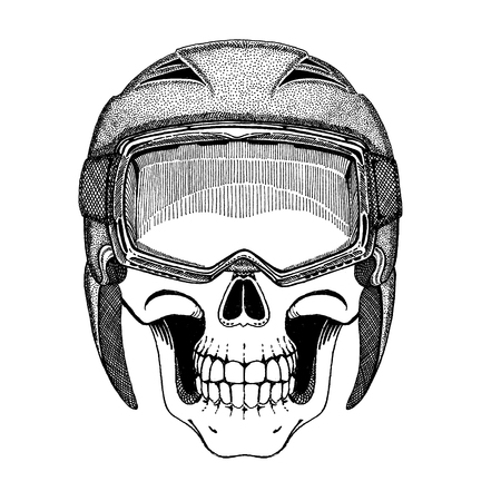 Dead skier. Ghost ski rider. Skull wearing ski helmet. Ride until death.