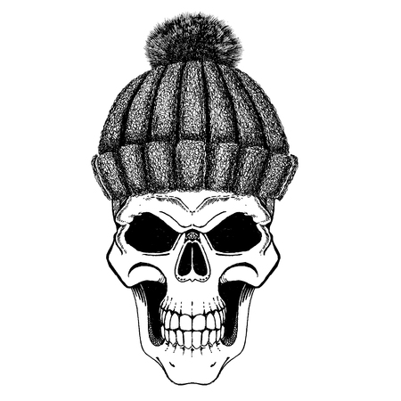 Skull wearing winter hat. Knitted warm cap. Monster, zombie loves cozy winter hats. Print for t-shirt, poster, emblem, tattoo.