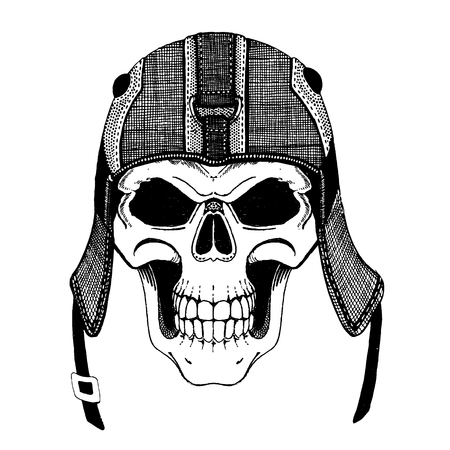 Skull wearing biker helmet. Ride until death. Wild and free. Motorcycle logo, badge, patch. Zombie, ghost rider. Dead biker Stock Photo