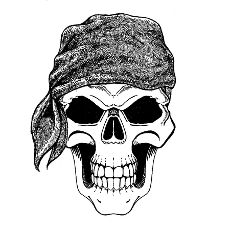 Brave dead pirate wearing bandana. Sailor of Caribbean sea. Retro vintage illustration of dead corsair. Skull wearing bandana
