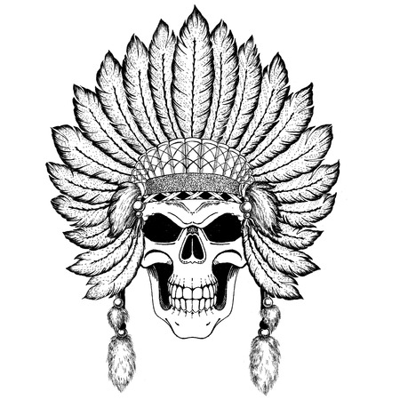 Stunning crown of feathers on a skull, repeating the Indian. Graphic illustration technique, dotwork. Dead man. Tribal ethnic illustration. Boho chic style. Wild and free
