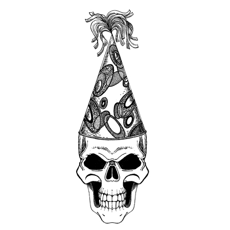 Skull wearing birthday cup. Heavy metall, rock party. Music festival. Demonic birthday party.