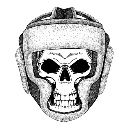 Skull wearing boxer helmet. Fight until death Stock Photo