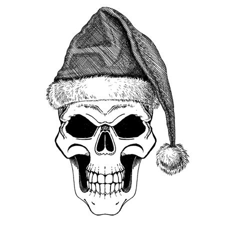 The skull of Santa Claus. Happy rock or heavy metal Christmas with Santa claus skull. Cartoon skull.