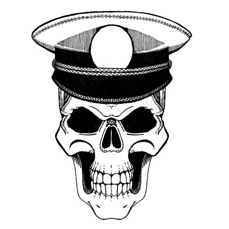 Monochrome illustration of pirate capitan skull. On white background