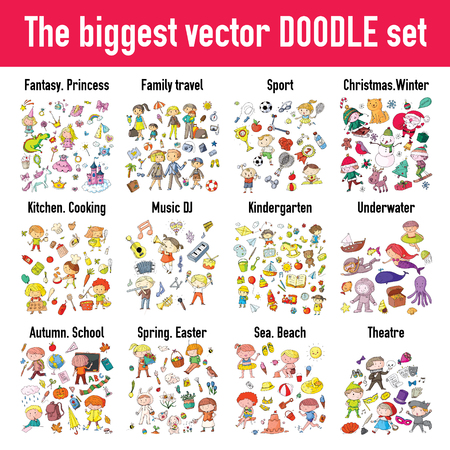 Fantasy, princess, sport, Christmas, Xmas, winter, kitchen, cooking, music, dj, kindergarten, underwater, autumn, school, spring, easter, beach, entertaiment. The biggest vector DOODLE set for kids. Archivio Fotografico - 97994542