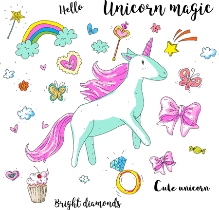 Cute fantasy unicorn. Vector illustration with rainbow, princess elements, flowers, hearts, diamonds. For kids pattern, children room, stickers, embroidery.