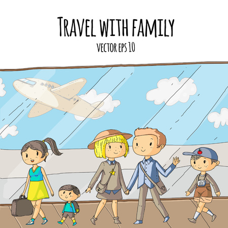 Airport terminal. Group of young travelers going to vacation. Happy family with kids. Mother with little son. Summer and spring best time to travel. Window with airplane.