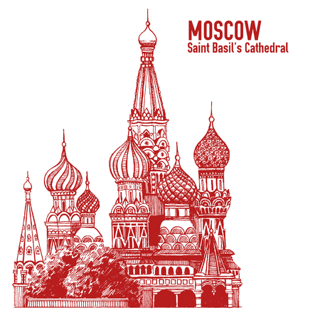 Moscow city colorful emblem with St. Basils Cathedral, Vacation in Russia. Illustration isolated on white background.