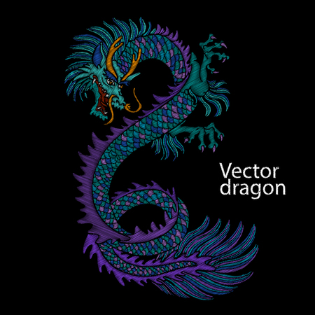 Embroidery of Chinese dragon. Classical embroidery Asian blue dragon. Japanese dragon. Vector art with dragons for t-shirt designs. Clothes, textile design template, tattoo sketch.