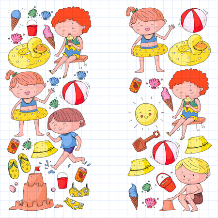 Kids on happy summer holiday. Colorful banner with children. Beach, travel adventures Illustration
