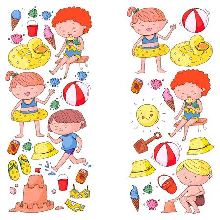 Kids on happy summer holiday. Colorful banner with children. Beach, travel adventures Standard-Bild - 99035715