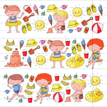 3 banners with kids on happy summer holiday. Kindergarten children. Banners, posters, doodle icons. Beach, travel adventures Standard-Bild - 99115820
