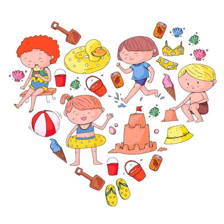 Kids on happy summer holiday. Beach, travel adventures