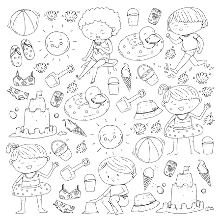 Kids on happy summer holiday with beach icons on white background. Vector illustration.
