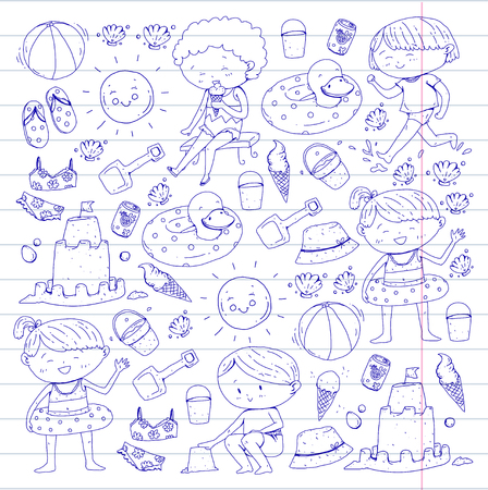 Kids on happy summer holiday with beach icons on lined white background. Vector illustration.