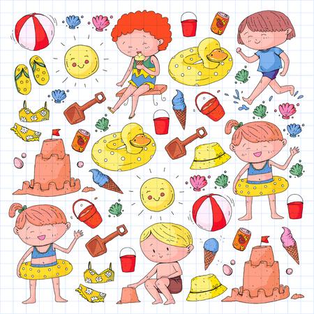 Kids on happy summer holiday. Beach, travel adventure