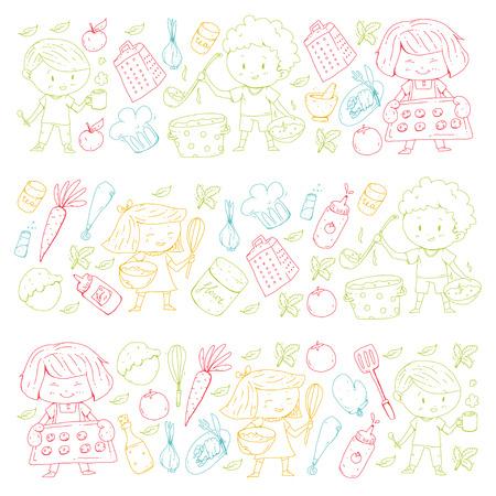 Chilren menu, kids cafe, restaurant. Kindergarten and preschool, school boys and girls. Healthy food and drink. Bakery, fruits, vegetables. Cooking class.