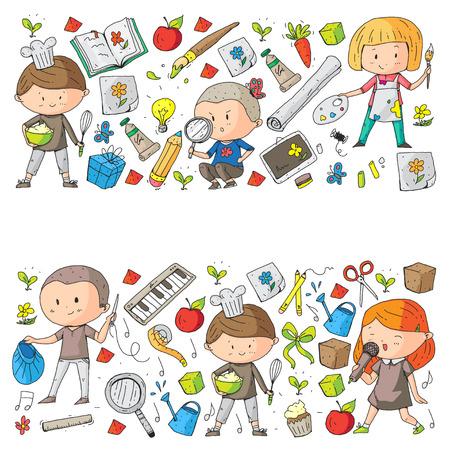 Les enfants. École et jardin d'enfants. Créativité et éducation. La musique. Exploration. Science. Imagination. Jouer et étudier. Cuisine. En chantant. En train de lire. Différents passe-temps et leçons. Illustration vectorielle