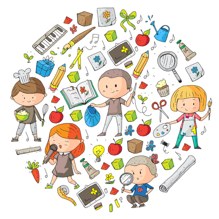 Children. School and kindergarten. Creativity and education. Music. Exploration. Science. Imagination. Play and study. Cooking. Singing. Reading. Different hobby and lessons. Vector illustration