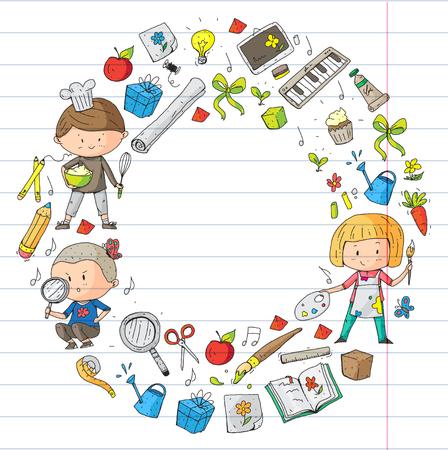 Créativité et éducation des enfants d'âge préscolaire. Musique, exploration, science et imagination. Différents passe-temps et leçons. Illustration vectorielle