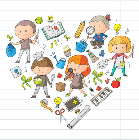 Preschool children creativity and education. Music, exploration, science and imagination. Different hobby and lessons. Vector illustration