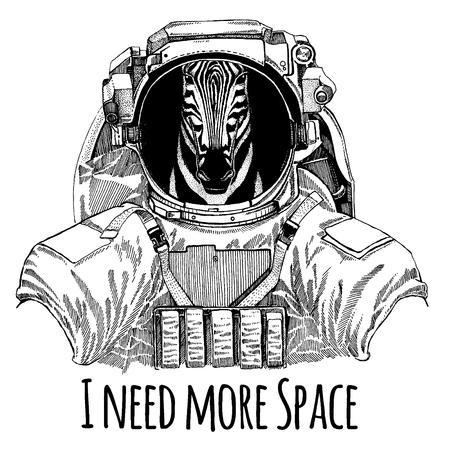 Zebra Horse Astronaut. Space suit. Hand drawn image of lion for tattoo, t-shirt, emblem, badge, logo patch kindergarten poster children clothing Banque d'images - 99223260
