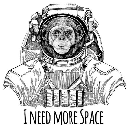 Chimpanzé singe Image dessinée à la main de lion pour tatouage, t-shirt, emblème, insigne, logo patch maternelle affiche enfants vêtements