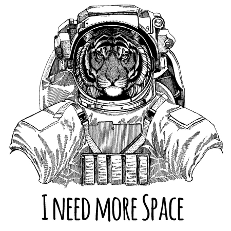 Wild tiger Astronaut. Space suit. Hand drawn image of lion for tattoo, t-shirt, emblem, badge, logo patch kindergarten poster children clothing