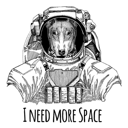 DOG for t-shirt design Astronaut. Space suit. 向量圖像