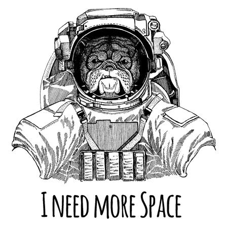 Bulldog Astronaut. Space suit. Фото со стока - 99290007