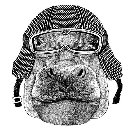 Behemoth, hippo with motorcycle helmet. Vintage motorcycle headdress Illustration